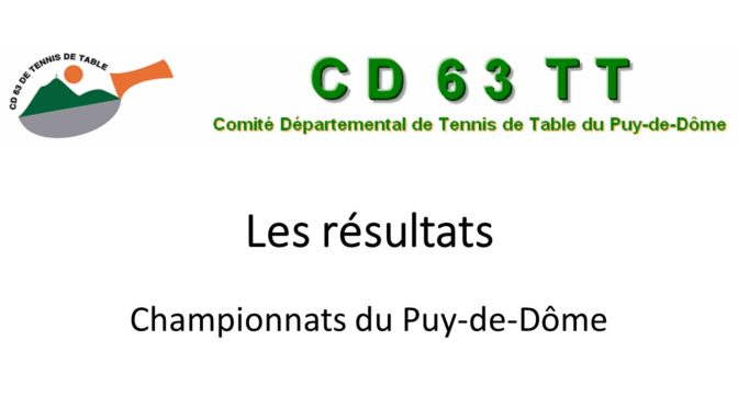Résultats des championnats du Puy-de-Dôme saison 2016 – 2017