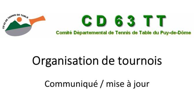 Précisions sur l'homologation des tournois organisés par les clubs