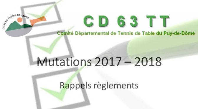 Mutations 2017 – 2018