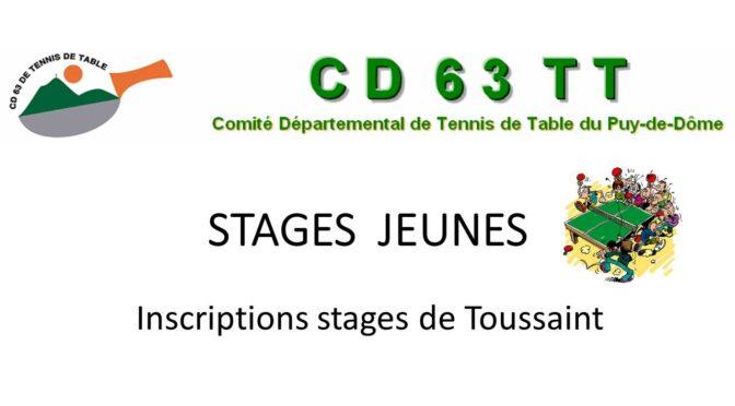Stage jeunes Toussaint
