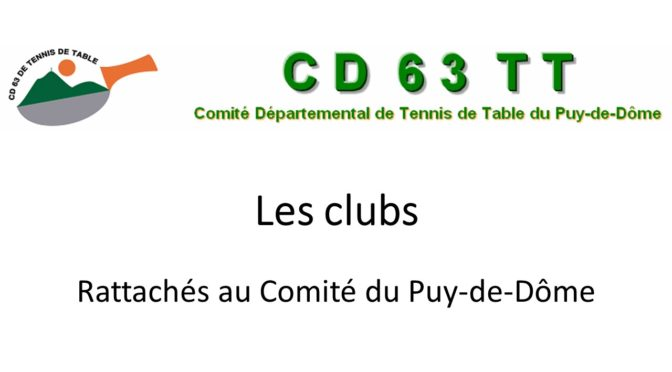ANNUAIRE DES CLUBS 63 ET 43 AFFILIES