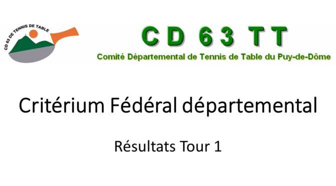 CRITERIUM FÉDÉRAL TOUR 1 : résultats