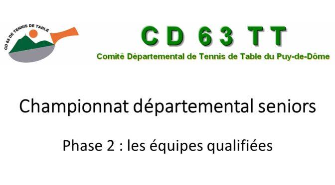 CLASSEMENT 1ère PHASE et QUALIFICATIONS 2ème phase