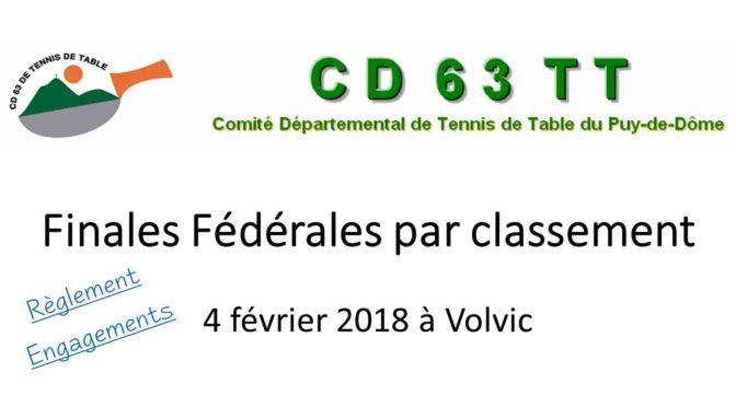 FINALES FÉDÉRALES PAR CLASSEMENT