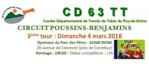 CIRCUIT POUSSINS-BENJAMINS tour 3 @ RIOM