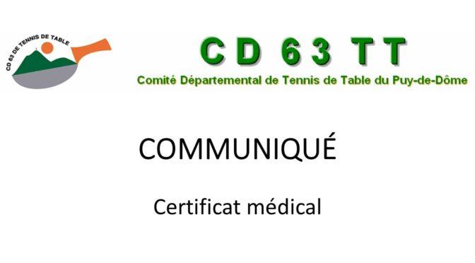 Certificat médical – Communiqué