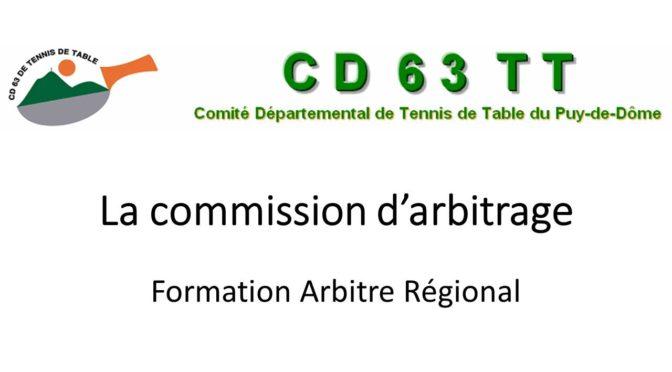 Formation Arbitre Régional