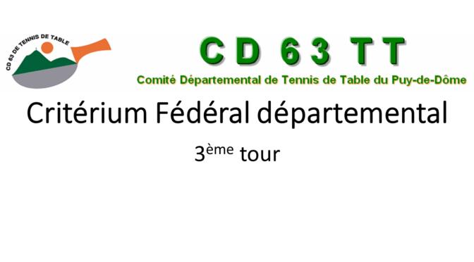 Convocation Critérium Fédéral Départemental