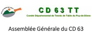 Assemblée Générale du CD 63 TT