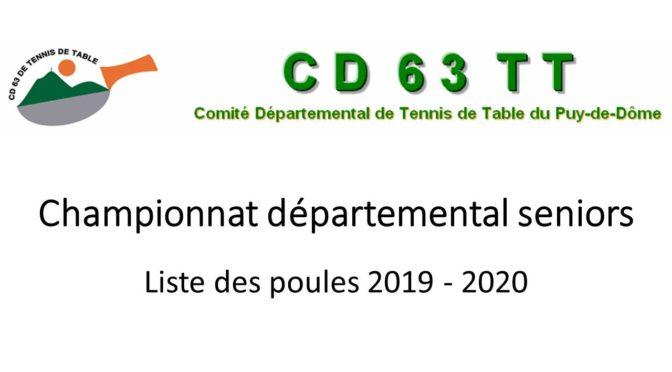 Saison 2019-2020 Poules D1 à D4
