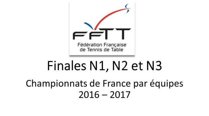 Finales des championnats de France par équipes N1, N2 et N3