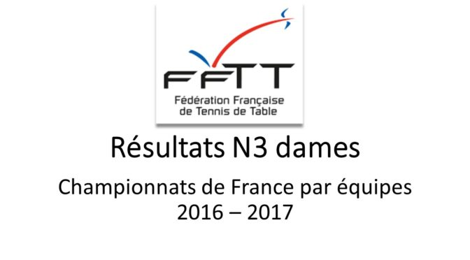 résultats de Nationale 3 dames