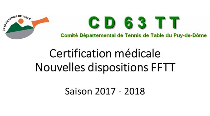 Certification médicale saison 2017-2018
