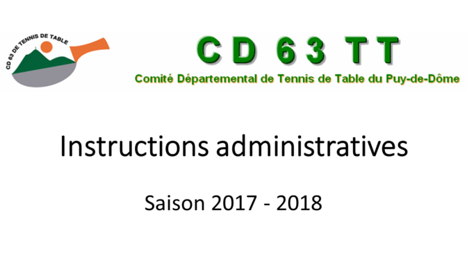 Instructions administratives saison 2017-2018