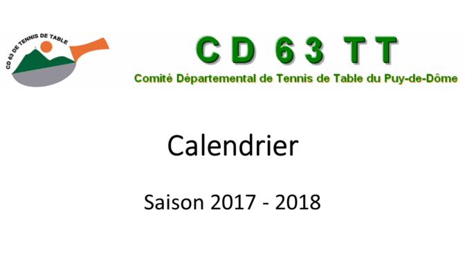 Calendrier saison 2017–2018