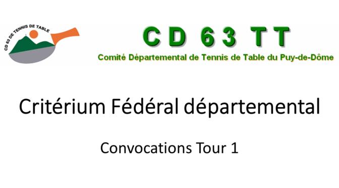 Critérium Fédéral Départemental – Convocations