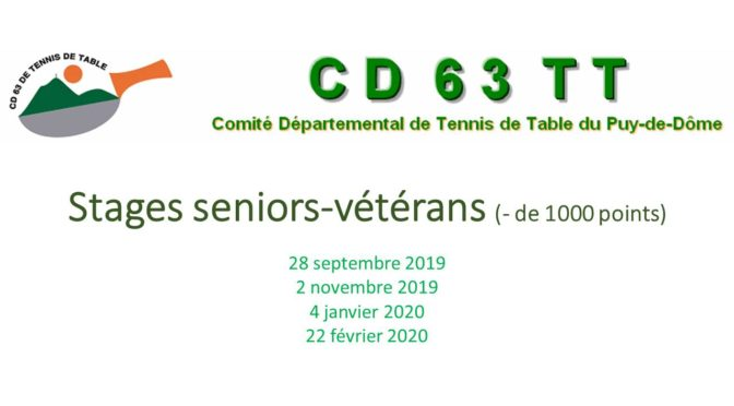 Inscription stage messieurs Seniors-Vétérans 4-01-2020