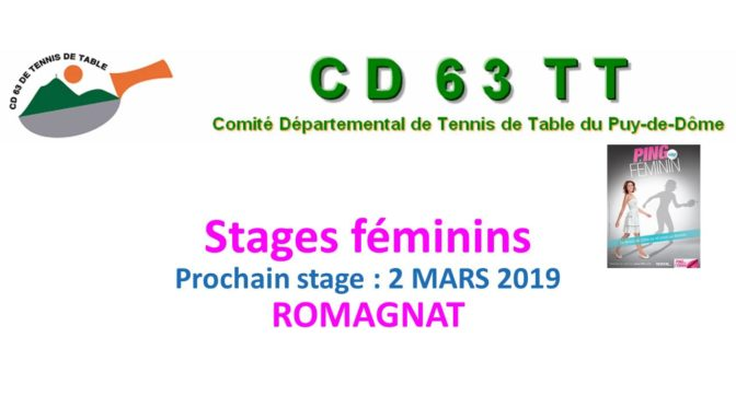 Stage féminin 2-03-2019