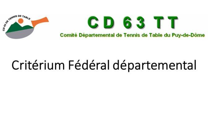 Critérium Fédéral départemental 3ème tour