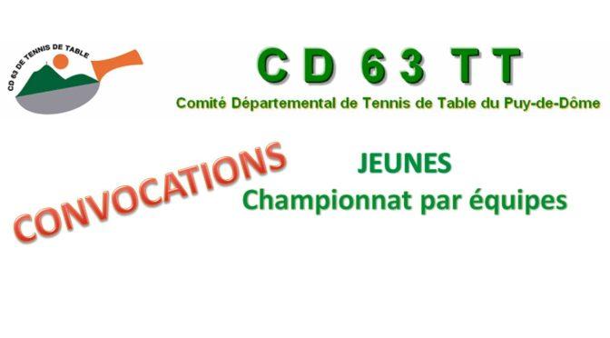Championnat par équipes JEUNES : convocation 3ème journée