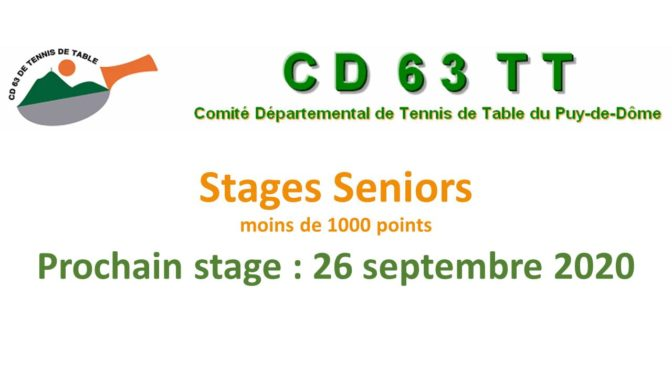 Stage Seniors-Vétérans moins de 1000 points