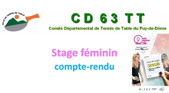 Compte-rendu du stage féminin et Seniors