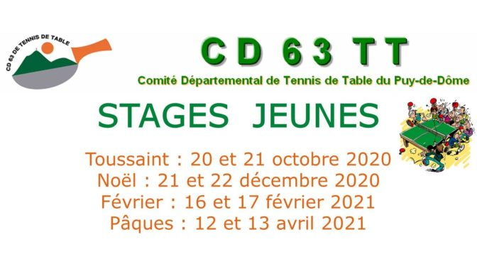 Stage Jeunes 20 et 21 octobre 2020