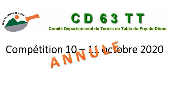 ANNULATION COMPETITION 10 ET 11 OCTOBRE