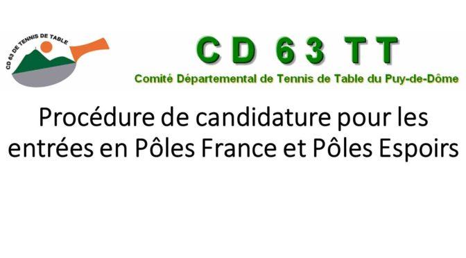 Procédure de candidature pour les entrées en Pôles France et Pôles Espoirs