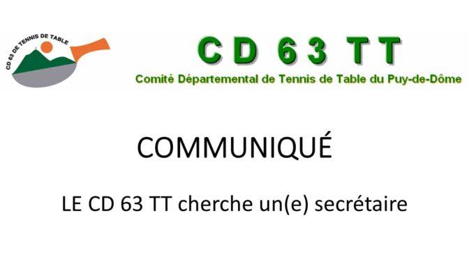Le CD63TT cherche un(e) secrétaire